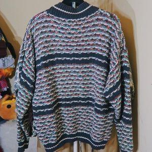 Multi-colour Cable Knit Vintage Sweater